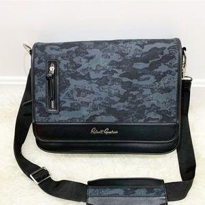 Robert Graham Black Leather Camo messenger Bag NWT